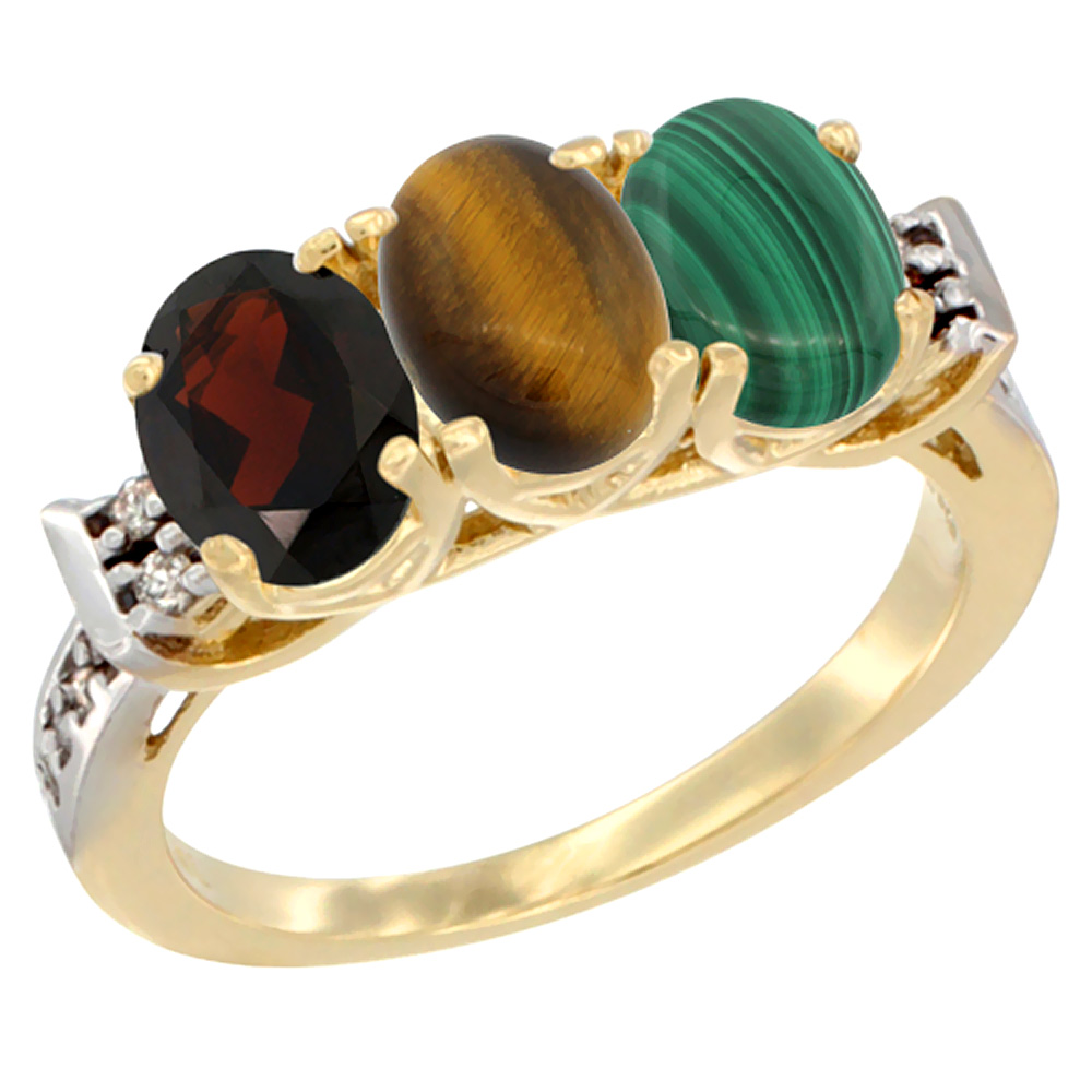 10K Yellow Gold Natural Garnet, Tiger Eye & Malachite Ring 3-Stone Oval 7x5 mm Diamond Accent, sizes 5 - 10