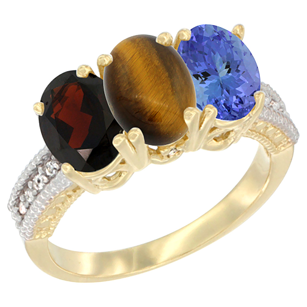 10K Yellow Gold Diamond Natural Garnet, Tiger Eye & Tanzanite Ring 3-Stone 7x5 mm Oval, sizes 5 - 10