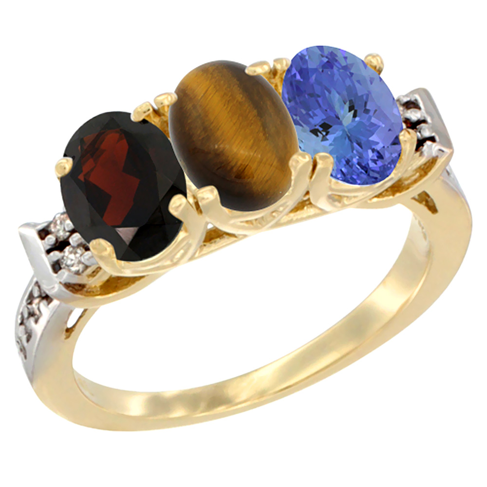 10K Yellow Gold Natural Garnet, Tiger Eye & Tanzanite Ring 3-Stone Oval 7x5 mm Diamond Accent, sizes 5 - 10