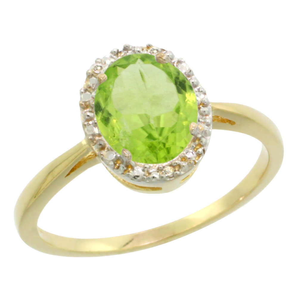 14K Yellow Gold Natural Peridot Diamond Halo Ring Oval 8X6mm, sizes 5-10
