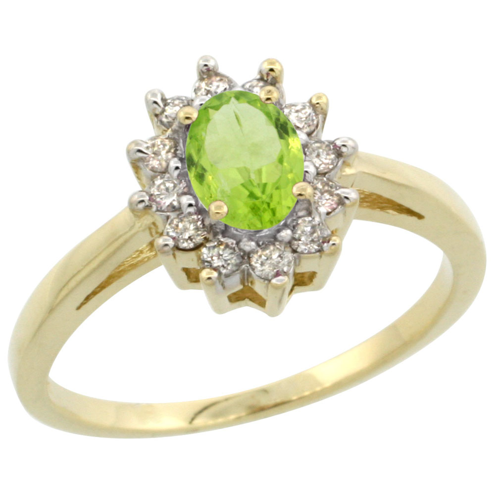 14K Yellow Gold Natural Peridot Flower Diamond Halo Ring Oval 6x4 mm, sizes 5 10