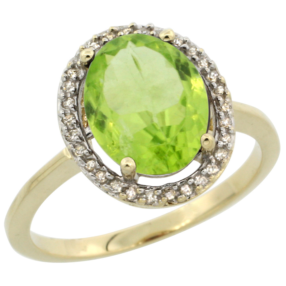 10K Yellow Gold Diamond Halo Natural Peridot Engagement Ring Oval 10x8 mm, sizes 5-10