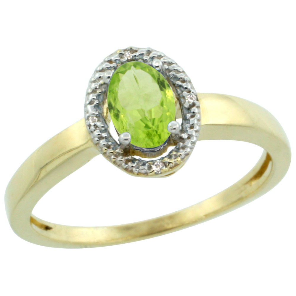 14K Yellow Gold Diamond Halo Natural Peridot Engagement Ring Oval 6X4 mm, sizes 5-10