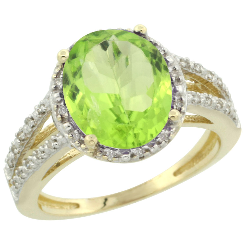 14K Yellow Gold Natural Peridot Diamond Halo Ring Oval 11x9mm, sizes 5-10