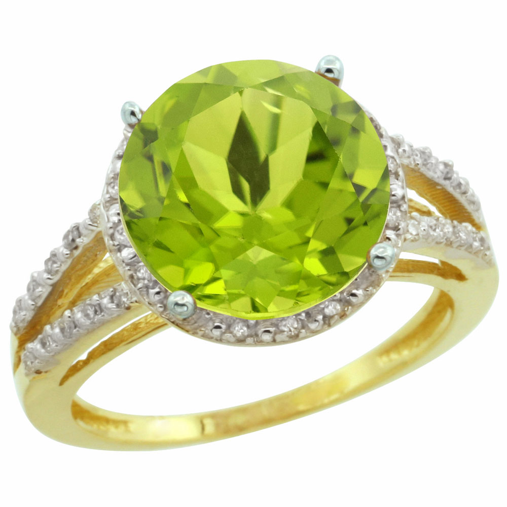10K Yellow Gold Diamond Natural Peridot Ring Round 11mm, sizes 5-10