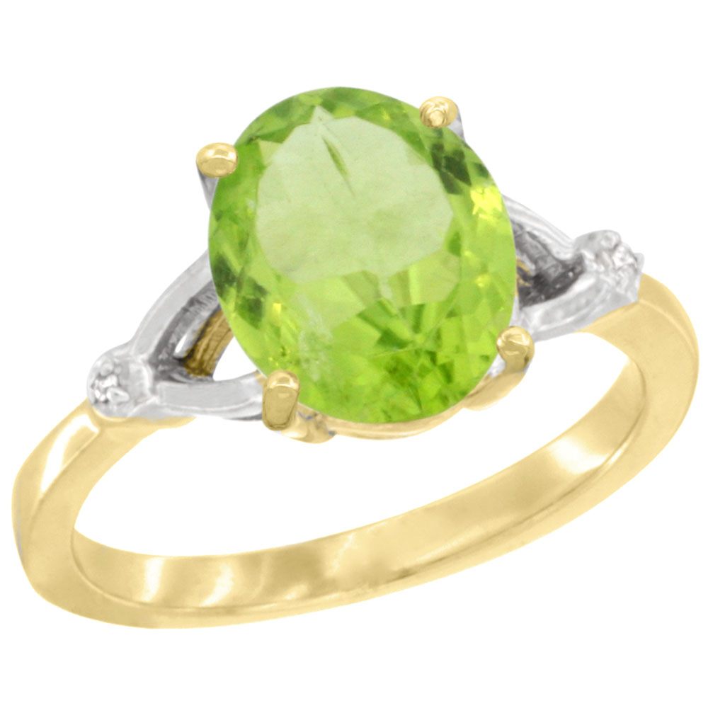 14K Yellow Gold Diamond Natural Peridot Engagement Ring Oval 10x8mm, sizes 5-10