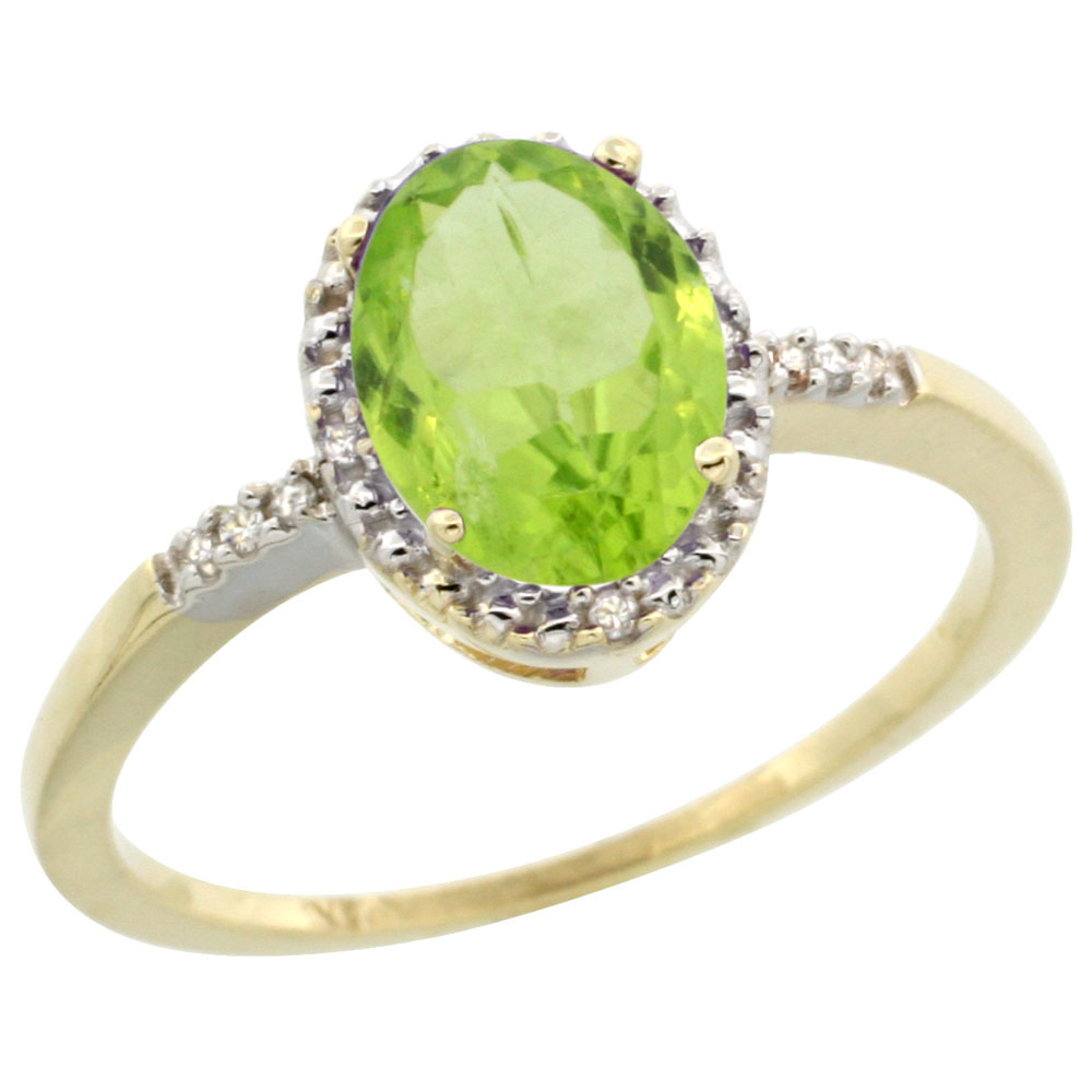14K Yellow Gold Diamond Natural Peridot Ring Oval 8x6mm, sizes 5-10