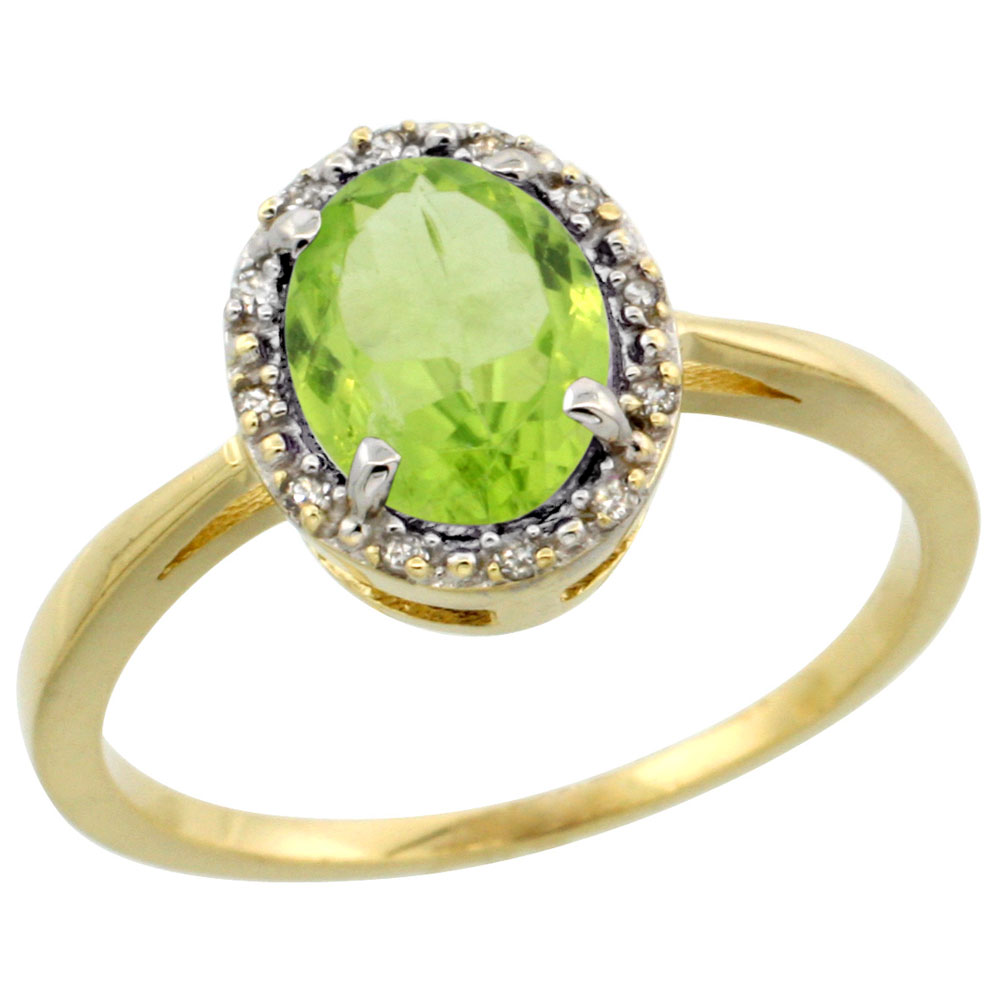 14K Yellow Gold Natural Peridot Ring Oval 8x6 mm Diamond Halo, sizes 5-10