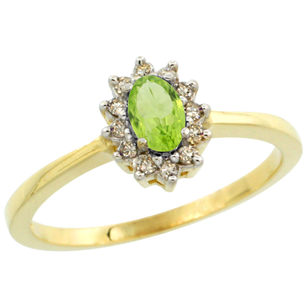14K Yellow Gold Natural Peridot Ring Oval 5x3mm Diamond Halo, sizes 5-10