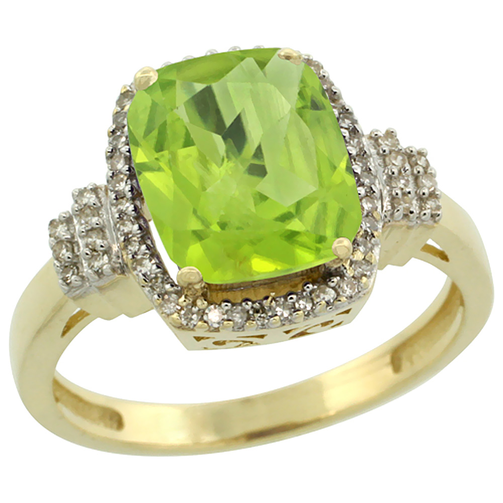 14K Yellow Gold Natural Peridot Ring Cushion-cut 9x7mm Diamond Halo, sizes 5-10