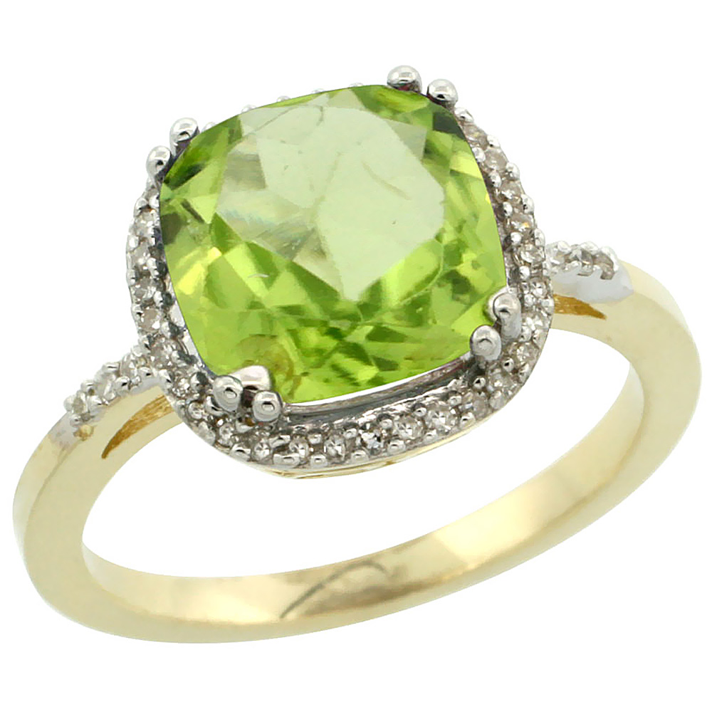 14K Yellow Gold Diamond Natural Peridot Ring Cushion-cut 9x9mm, sizes 5-10