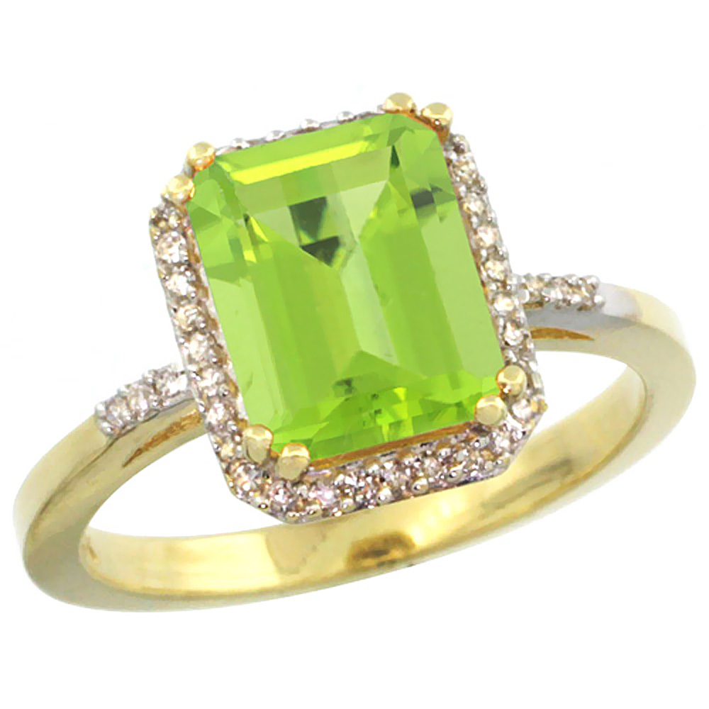 14K Yellow Gold Diamond Natural Peridot Ring Emerald-cut 9x7mm, sizes 5-10