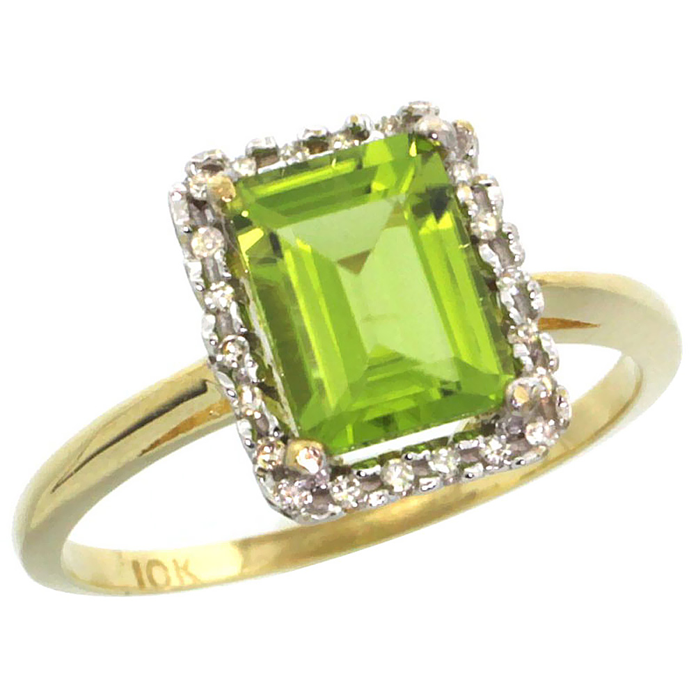 14K Yellow Gold Diamond Natural Peridot Ring Emerald-cut 8x6mm, sizes 5-10