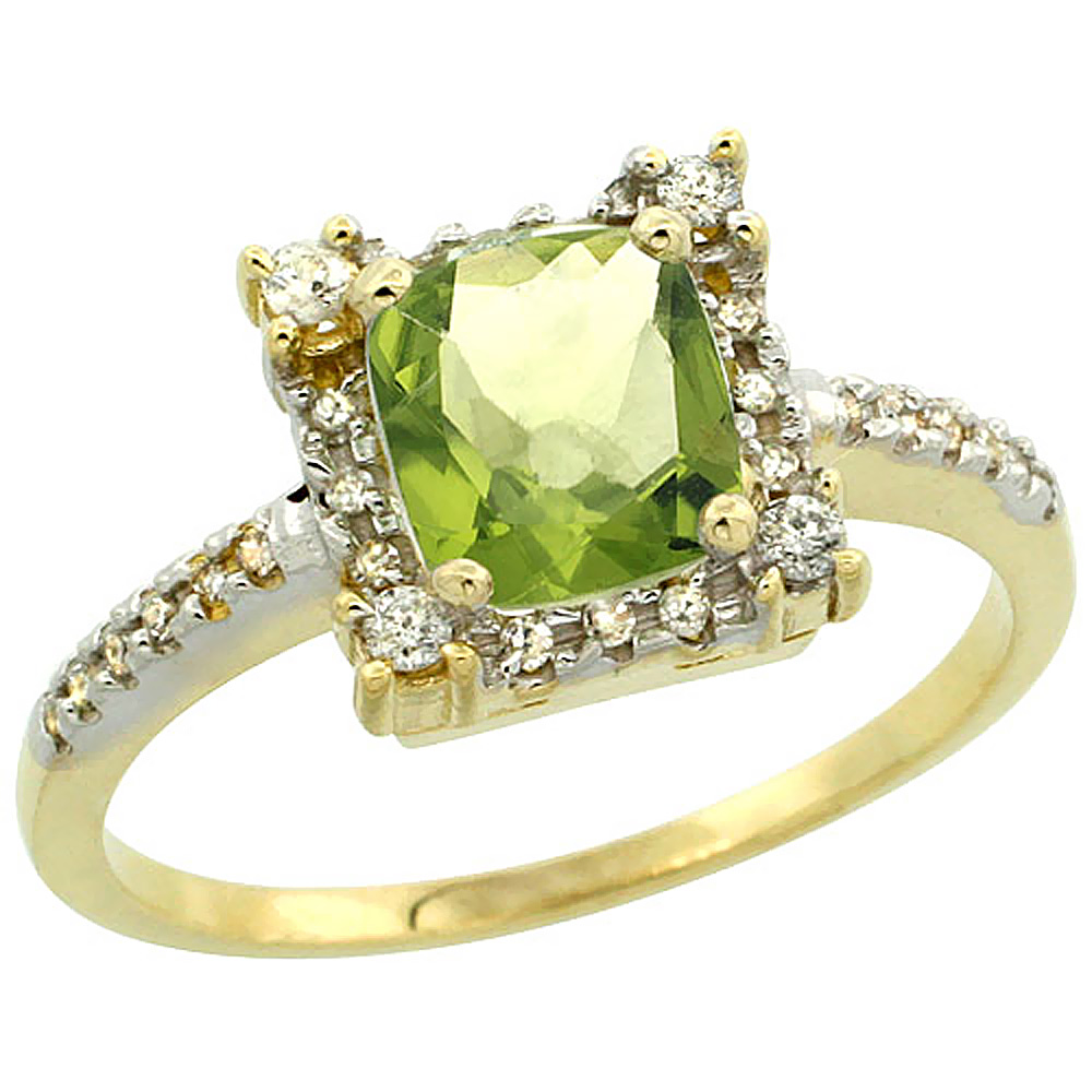 14K Yellow Gold Natural Peridot Ring Cushion-cut 6x6mm Diamond Halo, sizes 5-10