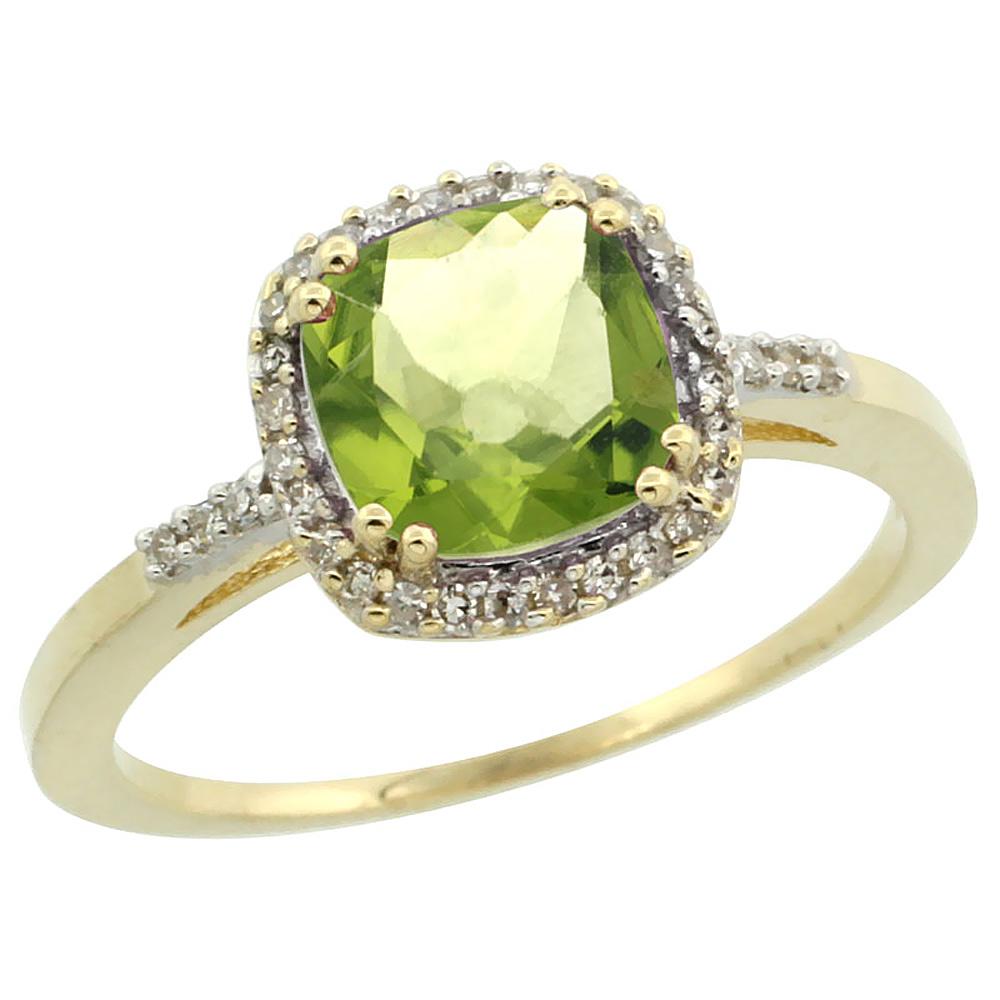 14K Yellow Gold Diamond Natural Peridot Ring Cushion-cut 7x7mm, sizes 5-10