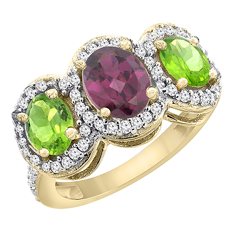 14K Yellow Gold Natural Rhodolite & Peridot 3-Stone Ring Oval Diamond Accent, sizes 5 - 10