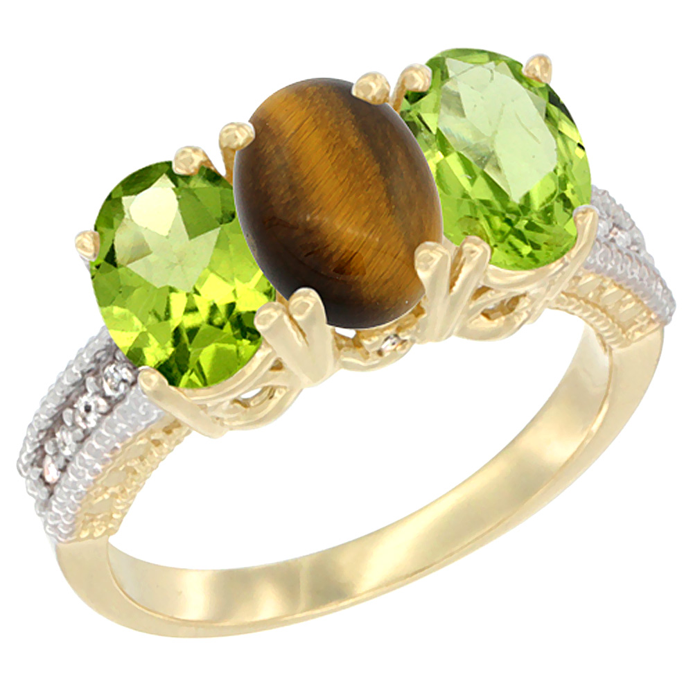 10K Yellow Gold Natural Tiger Eye & Peridot Ring 3-Stone Oval 7x5 mm, sizes 5 - 10