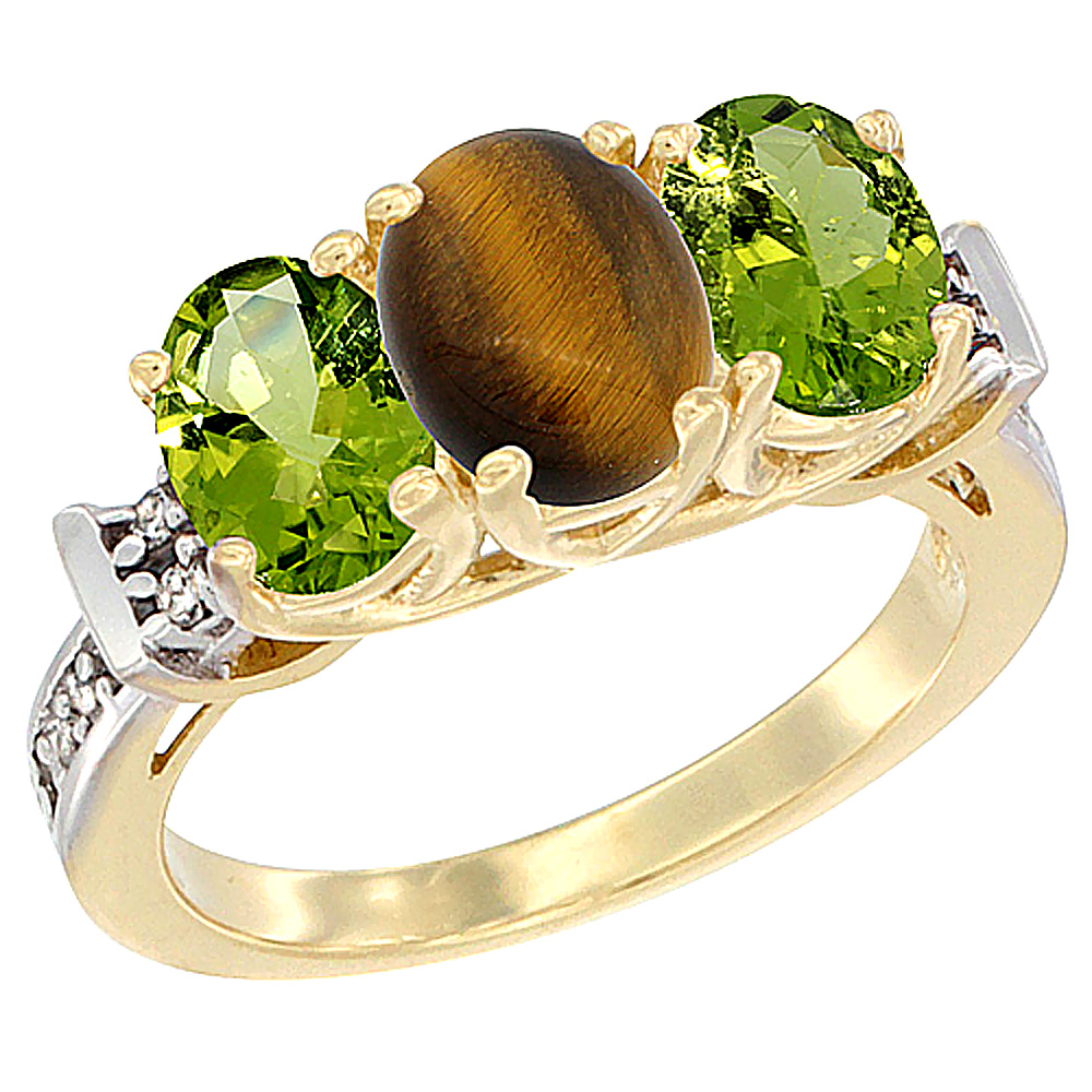 10K Yellow Gold Natural Tiger Eye & Peridot Sides Ring 3-Stone Oval Diamond Accent, sizes 5 - 10