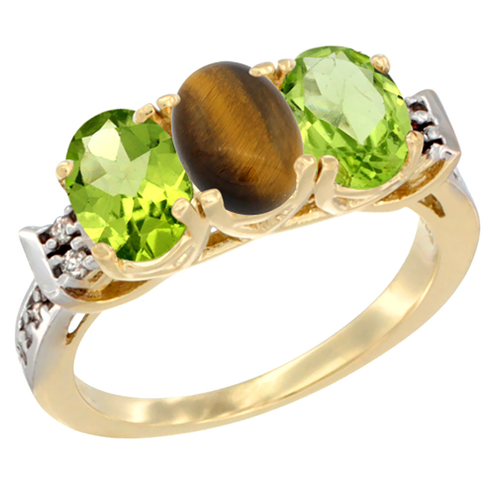 10K Yellow Gold Natural Tiger Eye & Peridot Sides Ring 3-Stone Oval 7x5 mm Diamond Accent, sizes 5 - 10
