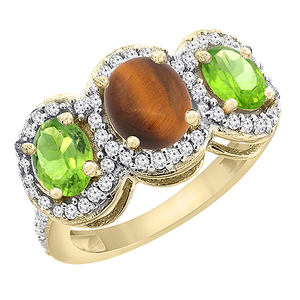 10K Yellow Gold Natural Tiger Eye & Peridot 3-Stone Ring Oval Diamond Accent, sizes 5 - 10