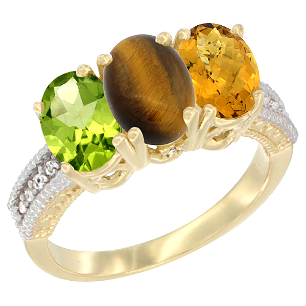 10K Yellow Gold Natural Peridot, Tiger Eye & Whisky Quartz Ring 3-Stone Oval 7x5 mm, sizes 5 - 10