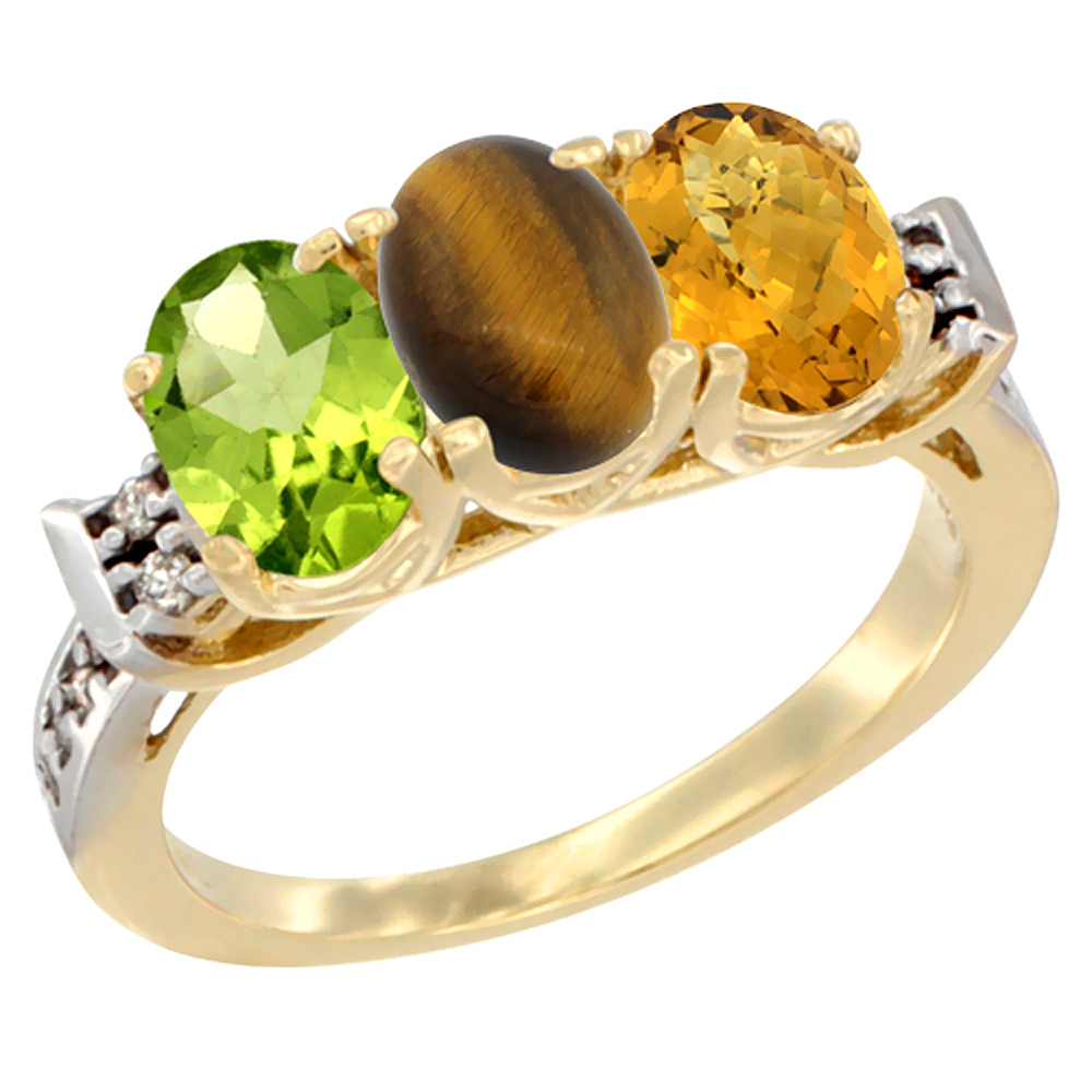 10K Yellow Gold Natural Peridot, Tiger Eye & Whisky Quartz Ring 3-Stone Oval 7x5 mm Diamond Accent, sizes 5 - 10