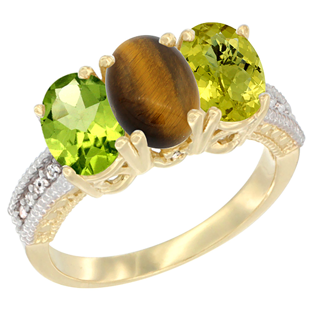 10K Yellow Gold Natural Peridot, Tiger Eye & Lemon Quartz Ring 3-Stone Oval 7x5 mm, sizes 5 - 10