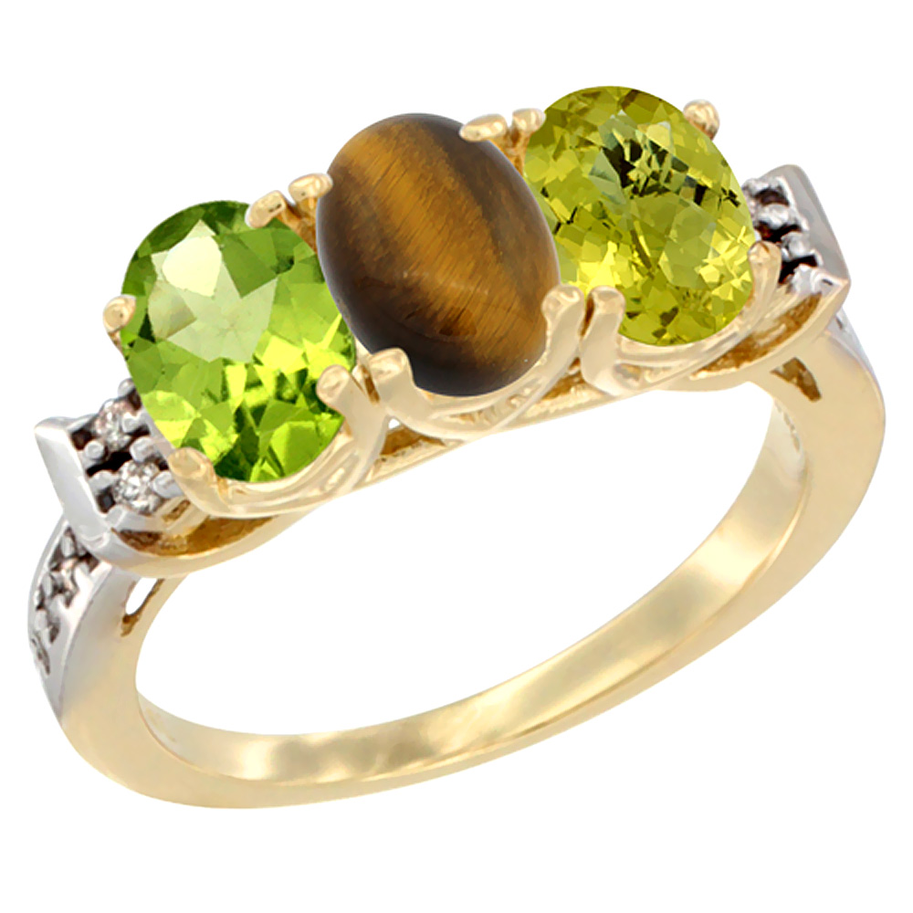 10K Yellow Gold Natural Peridot, Tiger Eye & Lemon Quartz Ring 3-Stone Oval 7x5 mm Diamond Accent, sizes 5 - 10