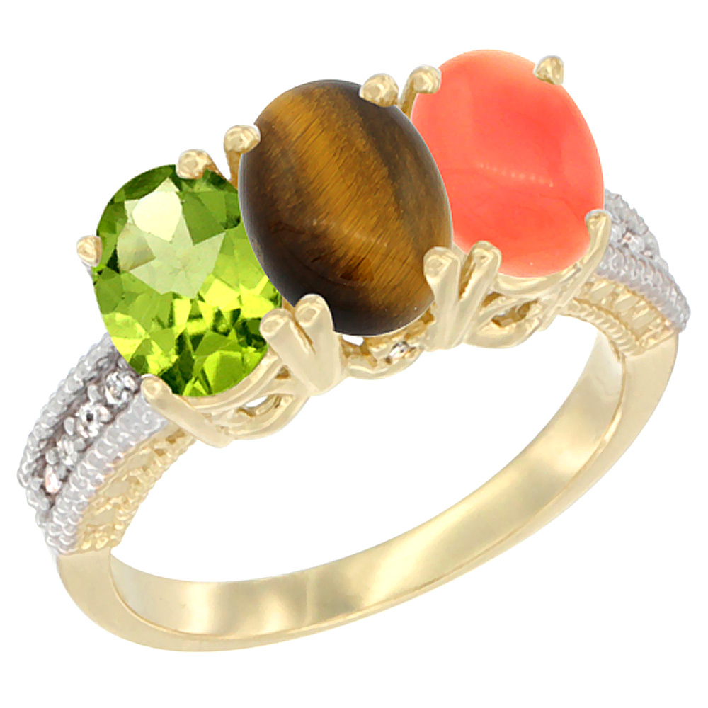 10K Yellow Gold Natural Peridot, Tiger Eye & Coral Ring 3-Stone Oval 7x5 mm, sizes 5 - 10