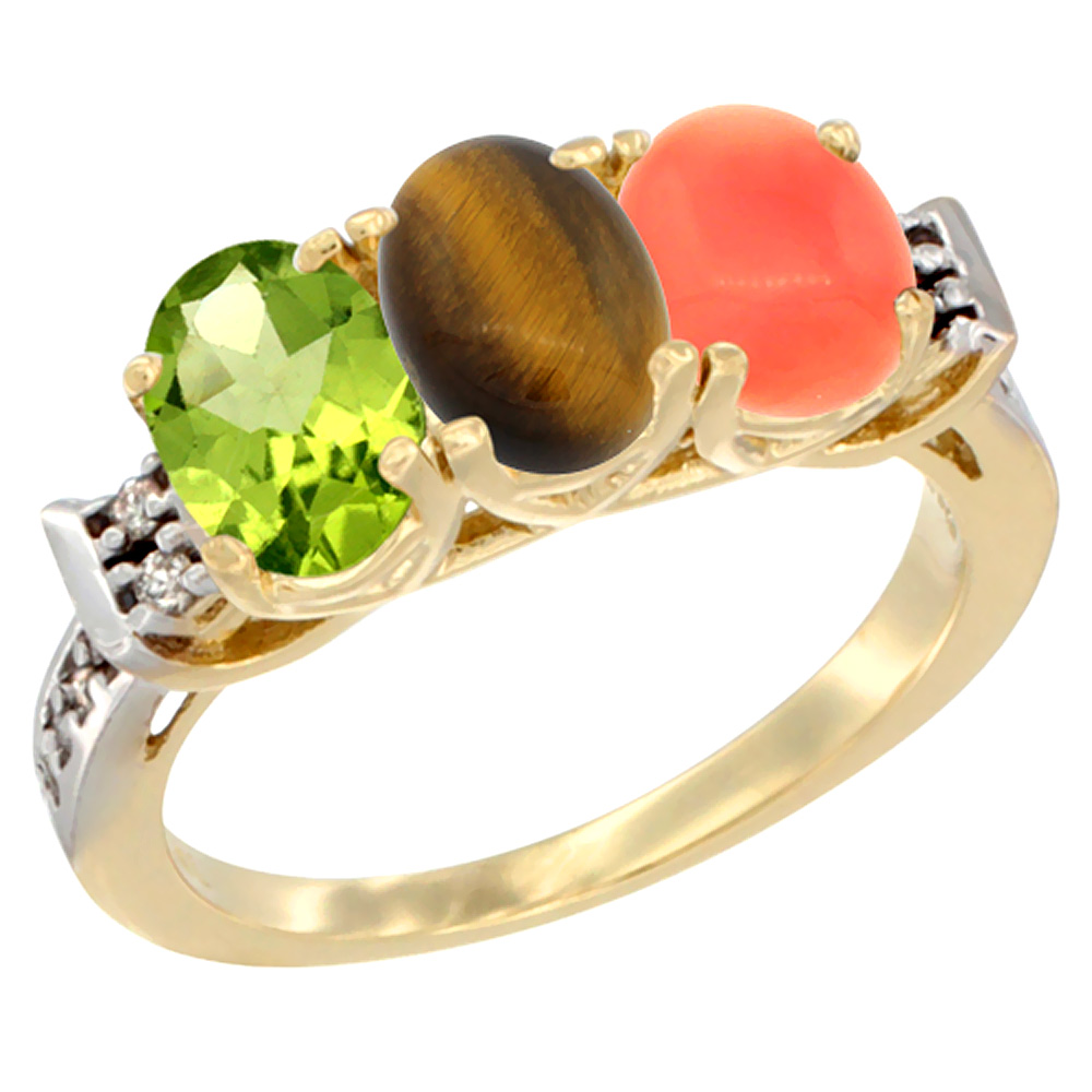 10K Yellow Gold Natural Peridot, Tiger Eye & Coral Ring 3-Stone Oval 7x5 mm Diamond Accent, sizes 5 - 10