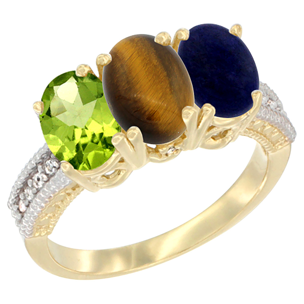 10K Yellow Gold Natural Peridot, Tiger Eye & Lapis Ring 3-Stone Oval 7x5 mm, sizes 5 - 10