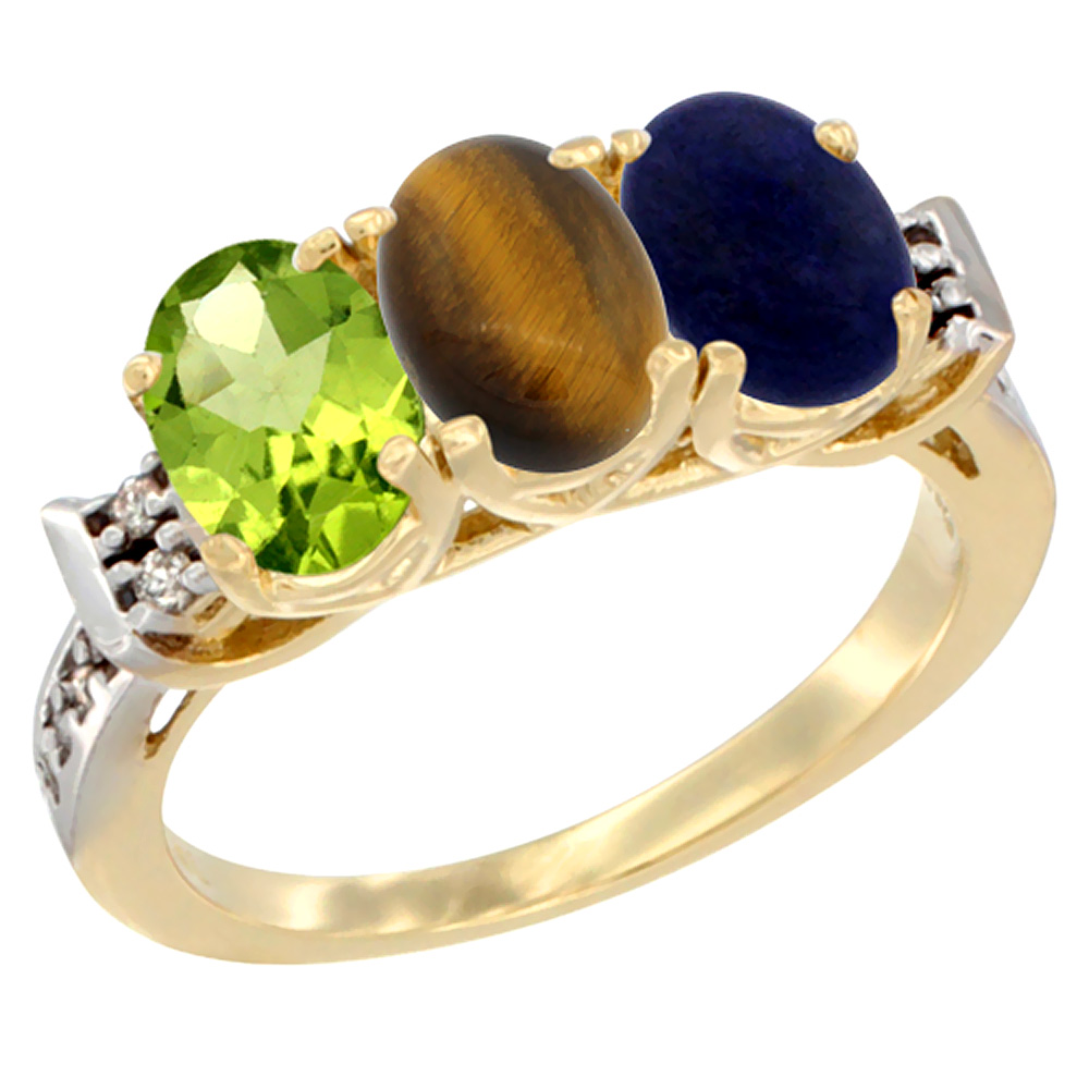 10K Yellow Gold Natural Peridot, Tiger Eye & Lapis Ring 3-Stone Oval 7x5 mm Diamond Accent, sizes 5 - 10