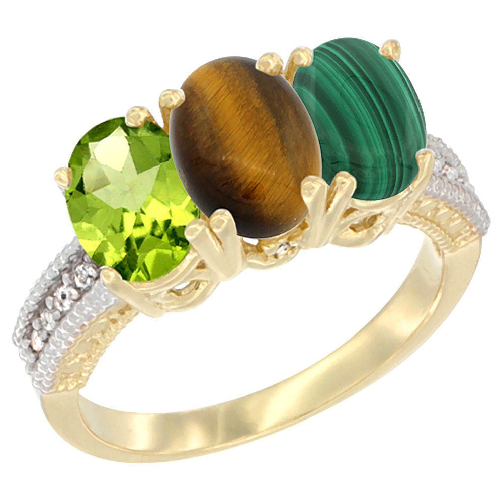 10K Yellow Gold Natural Peridot, Tiger Eye & Malachite Ring 3-Stone Oval 7x5 mm, sizes 5 - 10