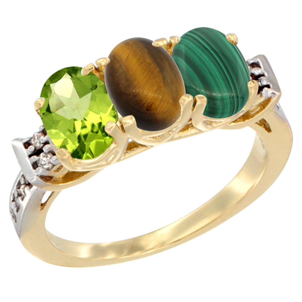 10K Yellow Gold Natural Peridot, Tiger Eye & Malachite Ring 3-Stone Oval 7x5 mm Diamond Accent, sizes 5 - 10