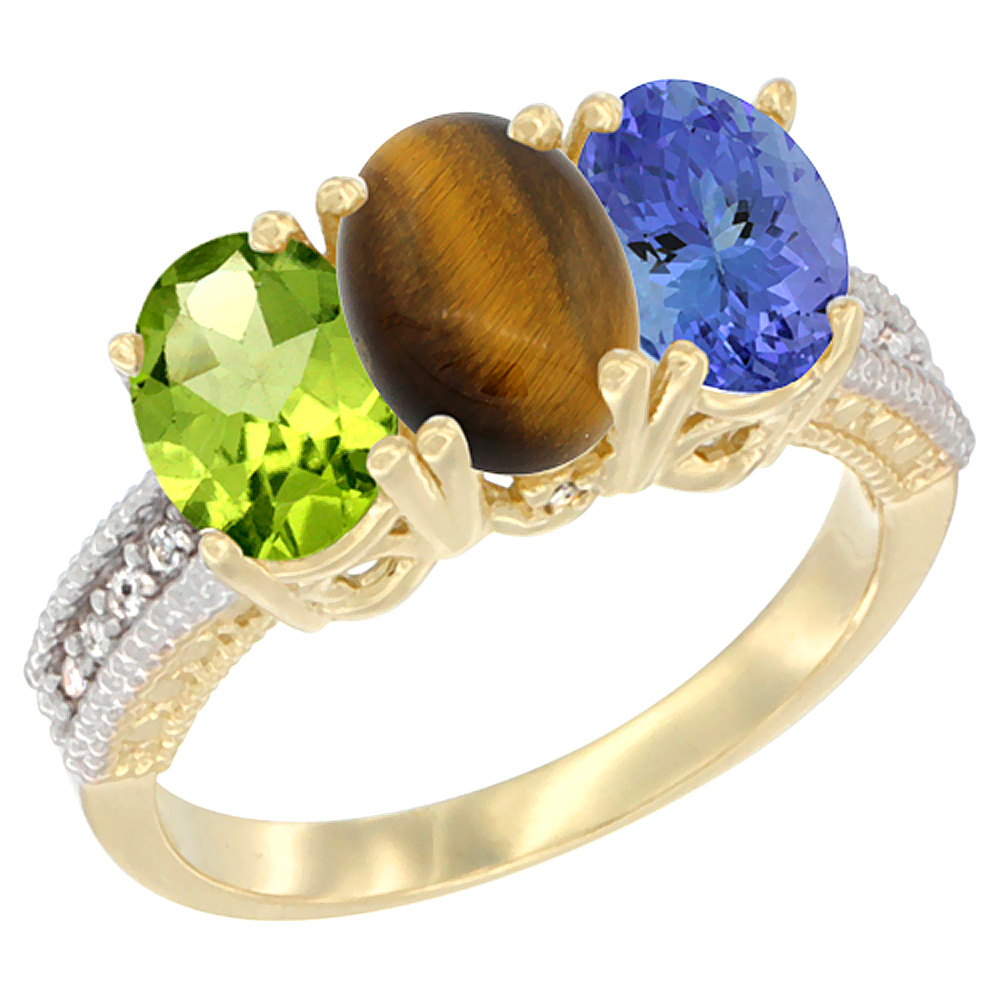 10K Yellow Gold Natural Peridot, Tiger Eye & Tanzanite Ring 3-Stone Oval 7x5 mm, sizes 5 - 10