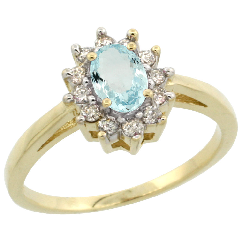 10K Yellow Gold Natural Aquamarine Flower Diamond Halo Ring Oval 6x4 mm, sizes 5 10