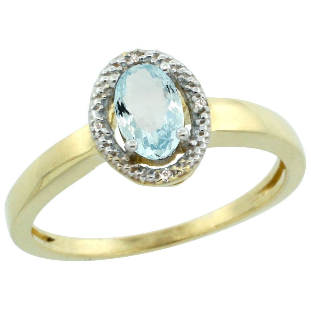 14K Yellow Gold Diamond Halo Natural Aquamarine Engagement Ring Oval 6X4 mm, sizes 5-10