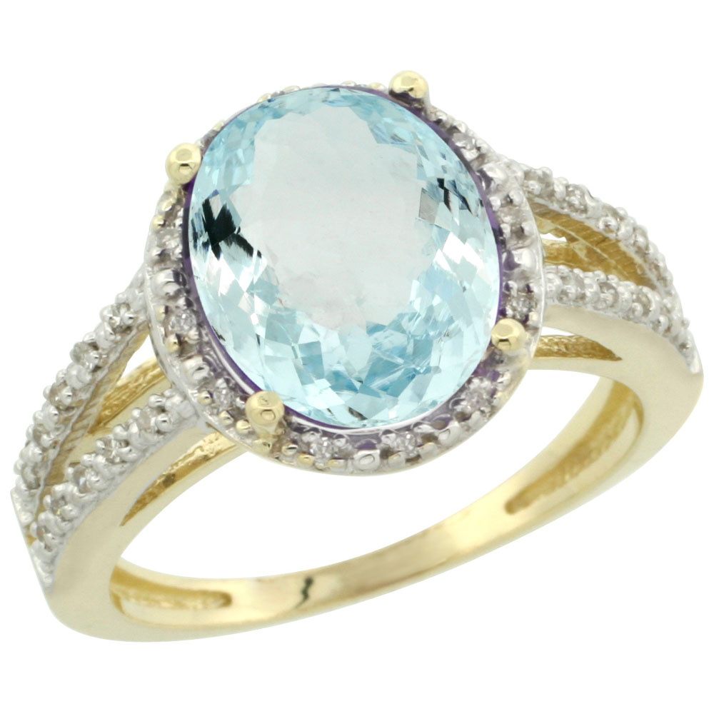 14K Yellow Gold Natural Aquamarine Diamond Halo Ring Oval 11x9mm, sizes 5-10