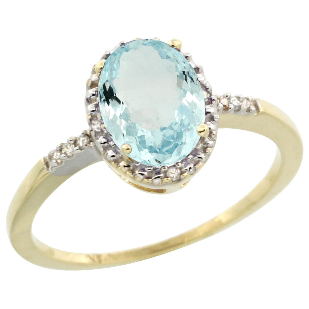 14K Yellow Gold Diamond Natural Aquamarine Ring Oval 8x6mm, sizes 5-10