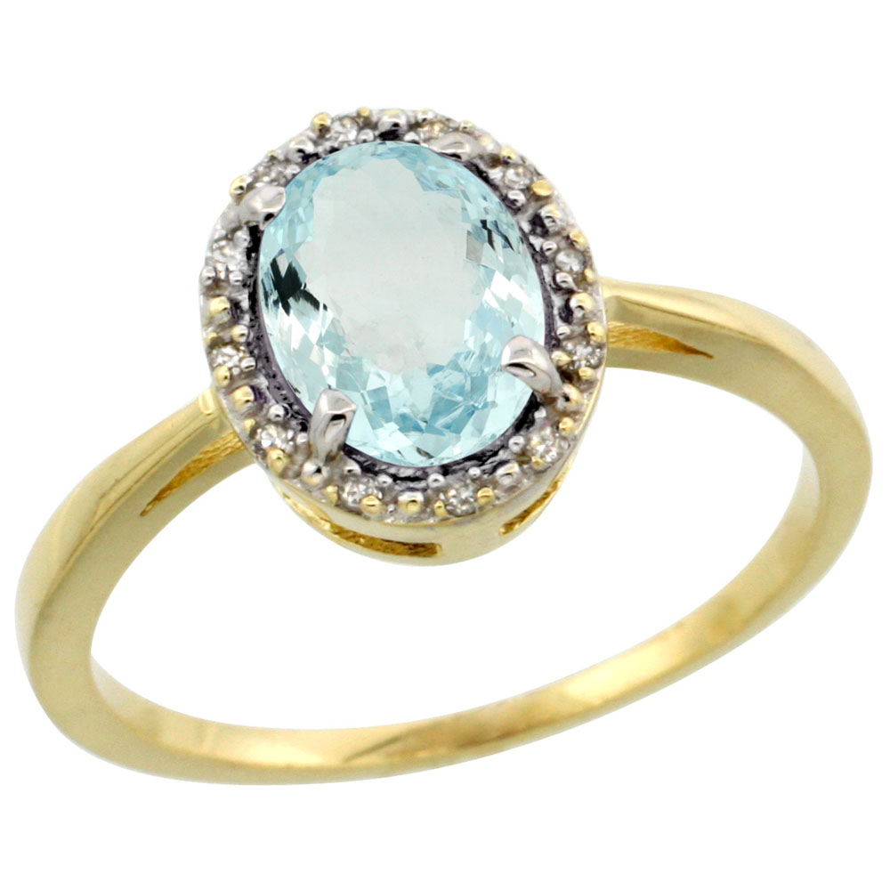 14K Yellow Gold Natural Aquamarine Ring Oval 8x6 mm Diamond Halo, sizes 5-10