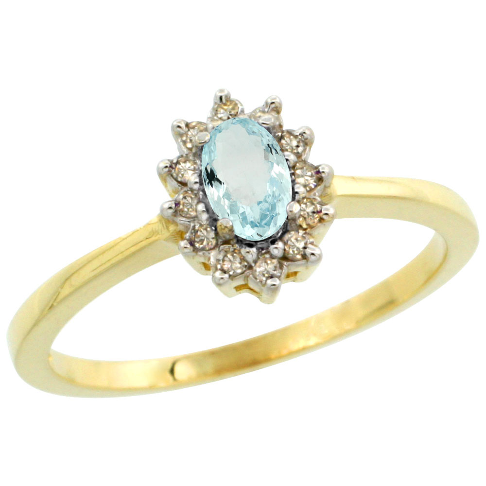 10k Yellow Gold Natural Aquamarine Ring Oval 5x3mm Diamond Halo, sizes 5-10