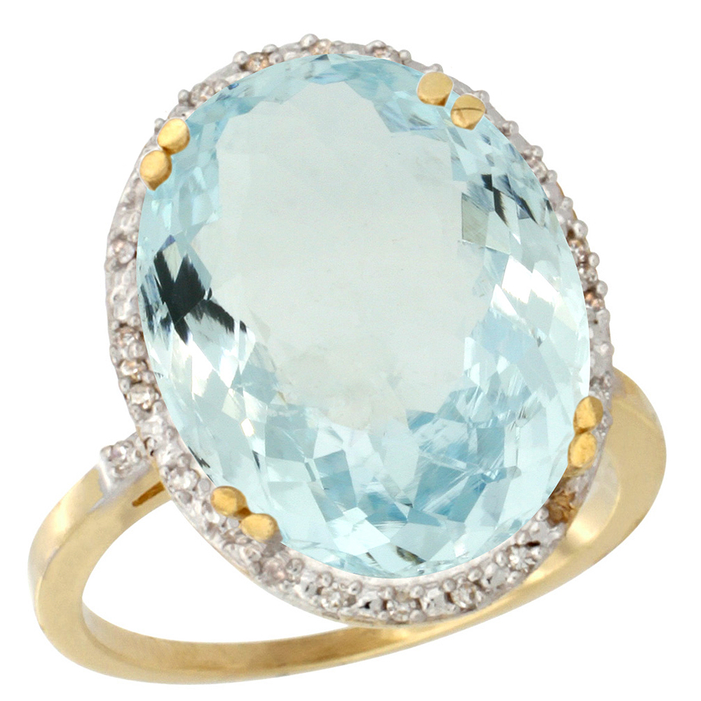 14K Yellow Gold Natural Aquamarine Ring Large Oval 18x13mm Diamond Halo, sizes 5-10