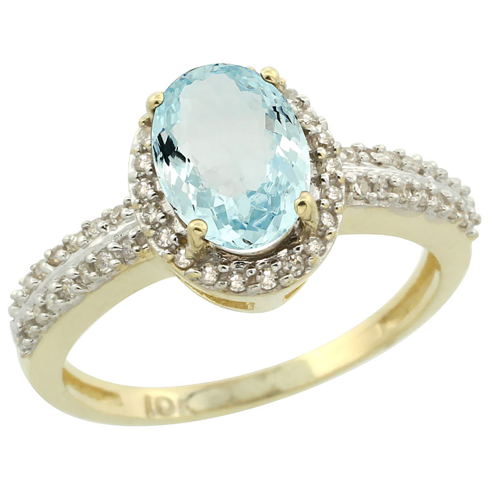 14K Yellow Gold Natural Aquamarine Ring Oval 8x6mm Diamond Halo, sizes 5-10