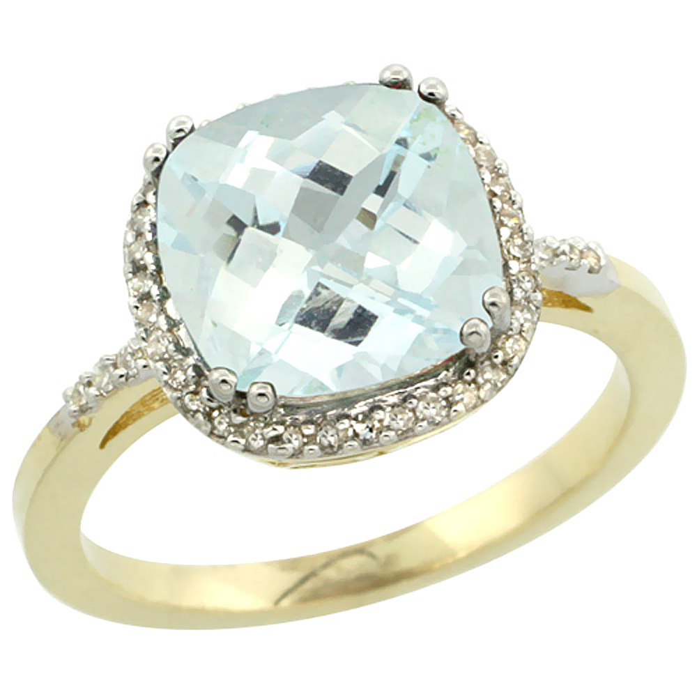 14K Yellow Gold Diamond Natural Aquamarine Ring Cushion-cut 9x9mm, sizes 5-10