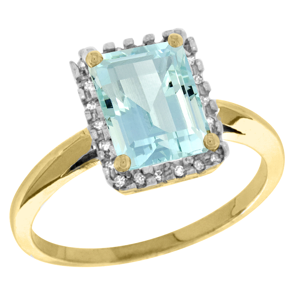 14K Yellow Gold Diamond Natural Aquamarine Ring Emerald-cut 8x6mm, sizes 5-10