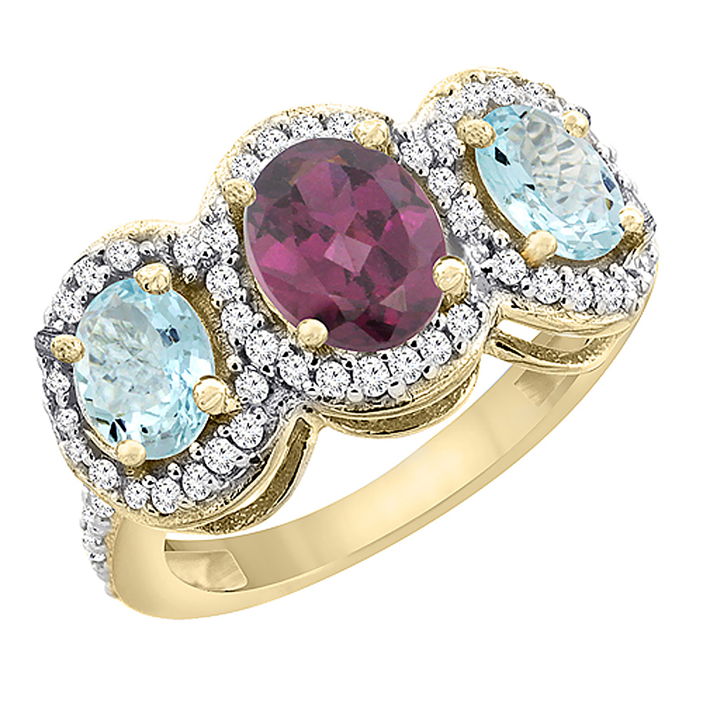 10K Yellow Gold Natural Rhodolite & Aquamarine 3-Stone Ring Oval Diamond Accent, sizes 5 - 10