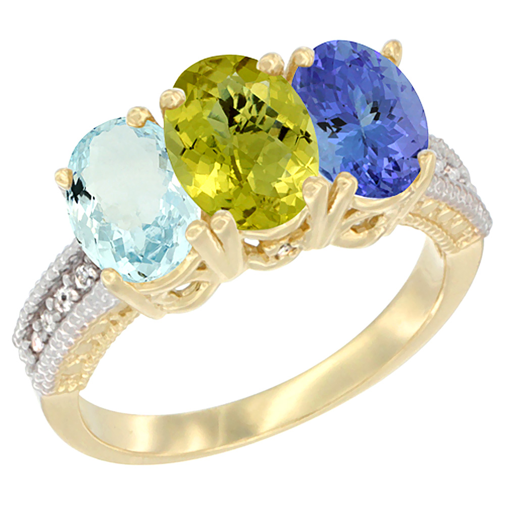 14K Yellow Gold Natural Aquamarine, Lemon Quartz & Tanzanite Ring 3-Stone Oval 7x5 mm Diamond Accent, sizes 5 - 10