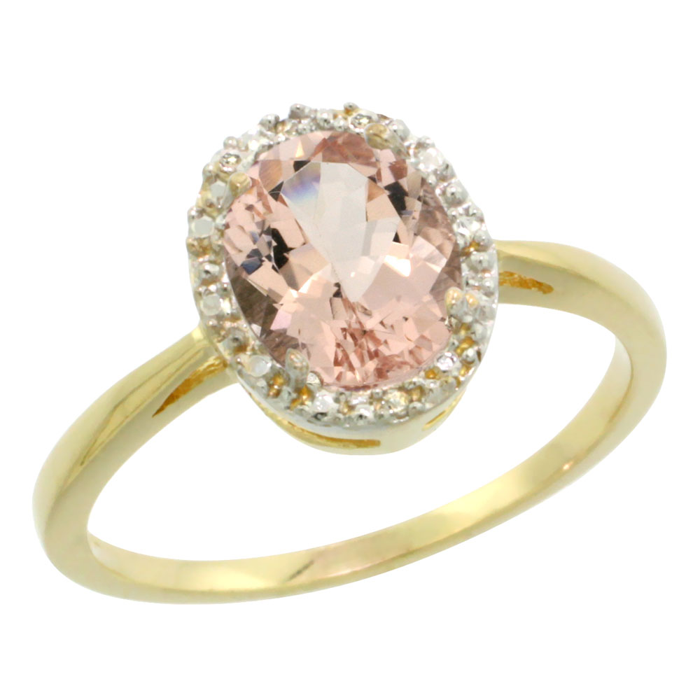 14K Yellow Gold Natural Morganite Diamond Halo Ring Oval 8X6mm, sizes 5-10
