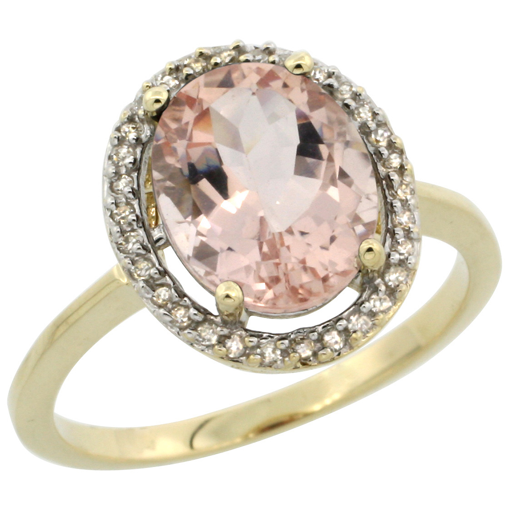 10K Yellow Gold Diamond Halo Natural Morganite Engagement Ring Oval 10x8 mm, sizes 5-10