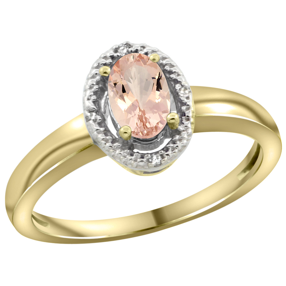 10K Yellow Gold Diamond Halo Natural Morganite Engagement Ring Oval 6X4 mm, sizes 5-10